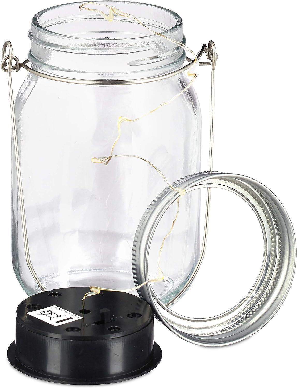 Relaxdays Solar Glas 8er Set, je 8 LED im Einmachglas, Stellen ...
