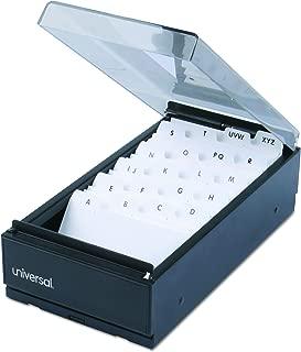 Universal 10601 Business Card File, Metal/Plastic, 4 1/4 x 8 1/4 x 2 1/2, Black