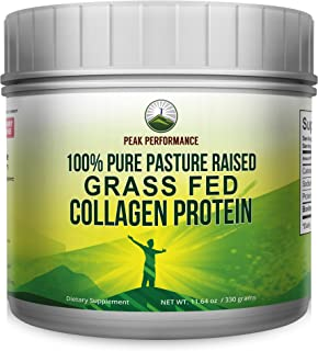 Pure Pasture Raised Grass Fed Hydrolyzed Collagen Protein Unflavored by Peak Performance. Paleo Friendly, Gluten and Dairy Free Collagen Peptides