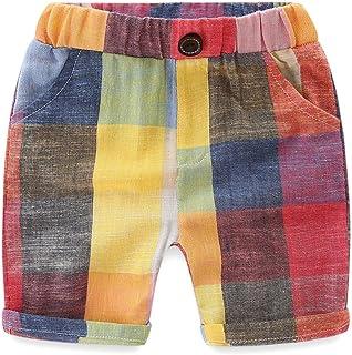 LittleSpring ボーイズ チェック パンツ キッズ 男の子 ショートパンツ 短パン 薄手 半ズボン ハーフパンツ ベビー 子供服 夏向け
