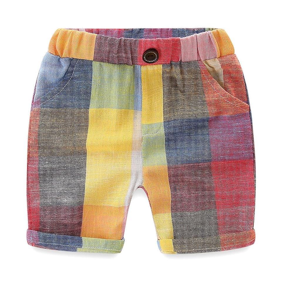 広げる具体的に予算LittleSpring ボーイズ チェック パンツ キッズ 男の子 ショートパンツ 短パン 薄手 半ズボン ハーフパンツ ベビー 子供服 夏向け