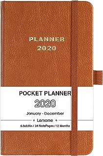 2020 Pocket Calendar - Weekly & Monthly Pocket Planner, Elegant Leather with Pen Hold, Inner Pocket, Banded, 6.4