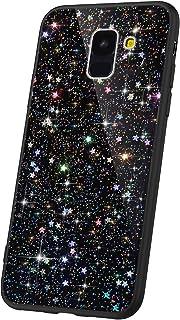JAWSEU Kompatibel med Samsung Galaxy A8 Plus 2018 fodral Bling, glitter glittrande stjärnor design mjuk smal TPU silikon g...