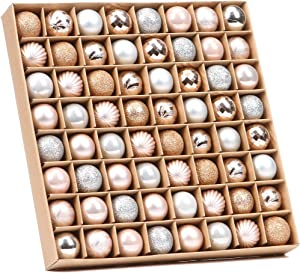 Sea Team 64-Pack Mini Christmas Ball Ornaments with Strings, 30mm/1.18-Inch Small Baubles, Shatterproof Plastic Christmas Bulbs, Hanging Decorations for Xmas Tree, Wreath, Garland (Rose Gold)