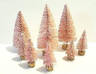 Very Vintage N More Lot of 8 Mini Pink Miniature Sisal Bottle Brush Christmas Trees Flocked Snow Village