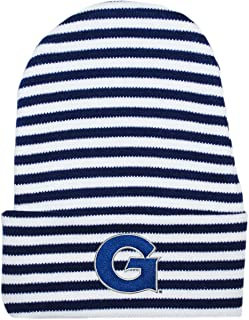 Creative Knitwear Georgetown University Striped Newborn Knit Cap Navy/White