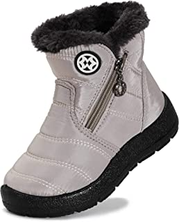 KVbabby Winter Snow Boots Slip-on Water Resistant Booties Boy's Girl's Anti-Slip Lightweight Ankle Boots Full Fur