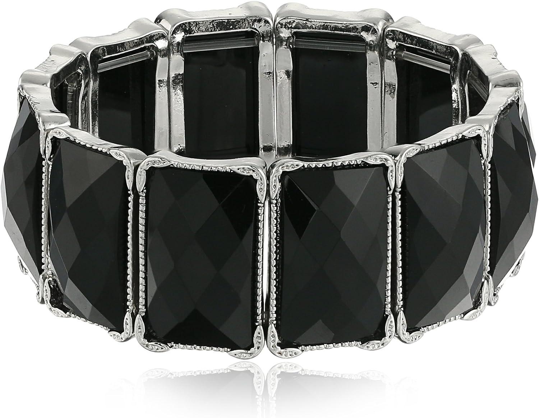 1928 Jewelry SilverTone Black Faceted Rectangle Stretch Bracelet