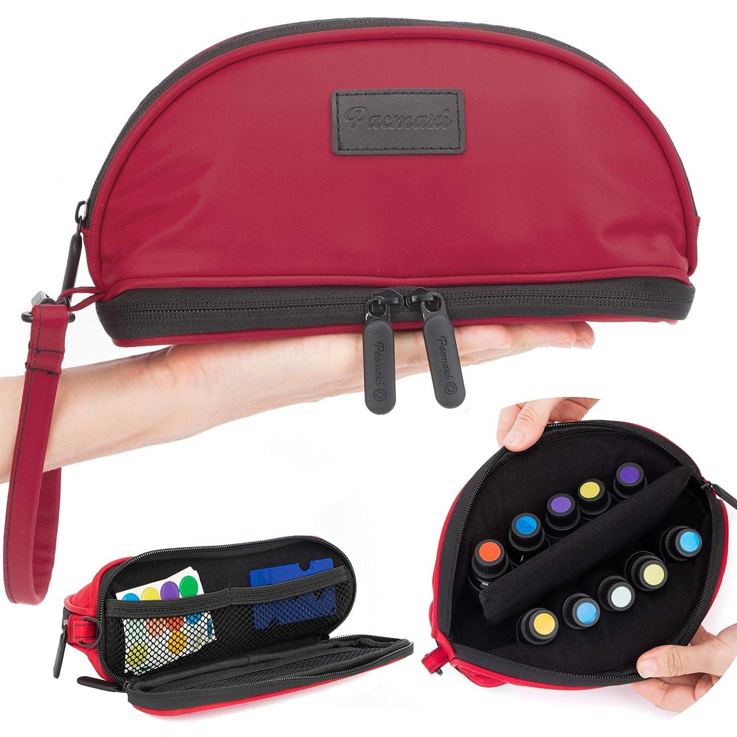 ガム印刷するロマンチック[Pacmaxi]エッセンシャルオイル 収納ポーチ 携帯便利 旅行 10本収納(5ml - 15ml) ナイロン製 撥水加工 ストラップあり (レッド)