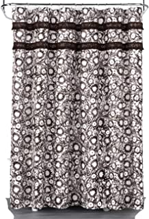 Opalhouse Botanical Print with Fringe Trim 100% Cotton Shower Curtain Brown/White