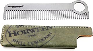 Chicago Comb Model 1 Stainless Steel + Horween Olive Shell Cordovan Sheath, Made in USA, Ultra-Smooth, Durable, Anti-Static, 5.5 in. (14 cm) Long, Medium Tines, Ultimate Daily Use Comb, Gift Set
