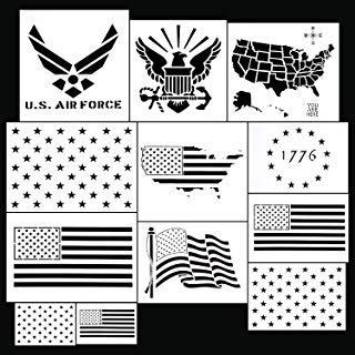 12 Pieces Stars Template Set, Plastic Star Stencil and Map Stencil for Crafts Painting