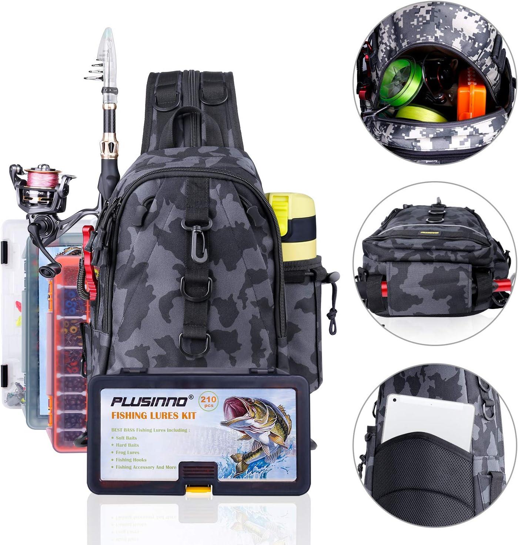 PLUSINNO Fishing Tackle Backpack Storage Bag,Outdoor Shoulder Backpack,Fishing Gear Bag,Water-Resistant Fishing Backpack with Rod Holder