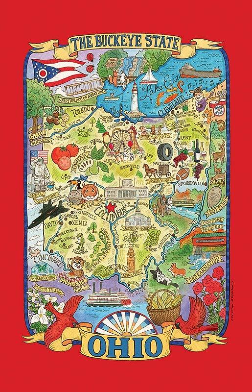Kay Dee Designs Adventure Destinations Ohio Map Tea Kitchen Towel 18 X 28 Various