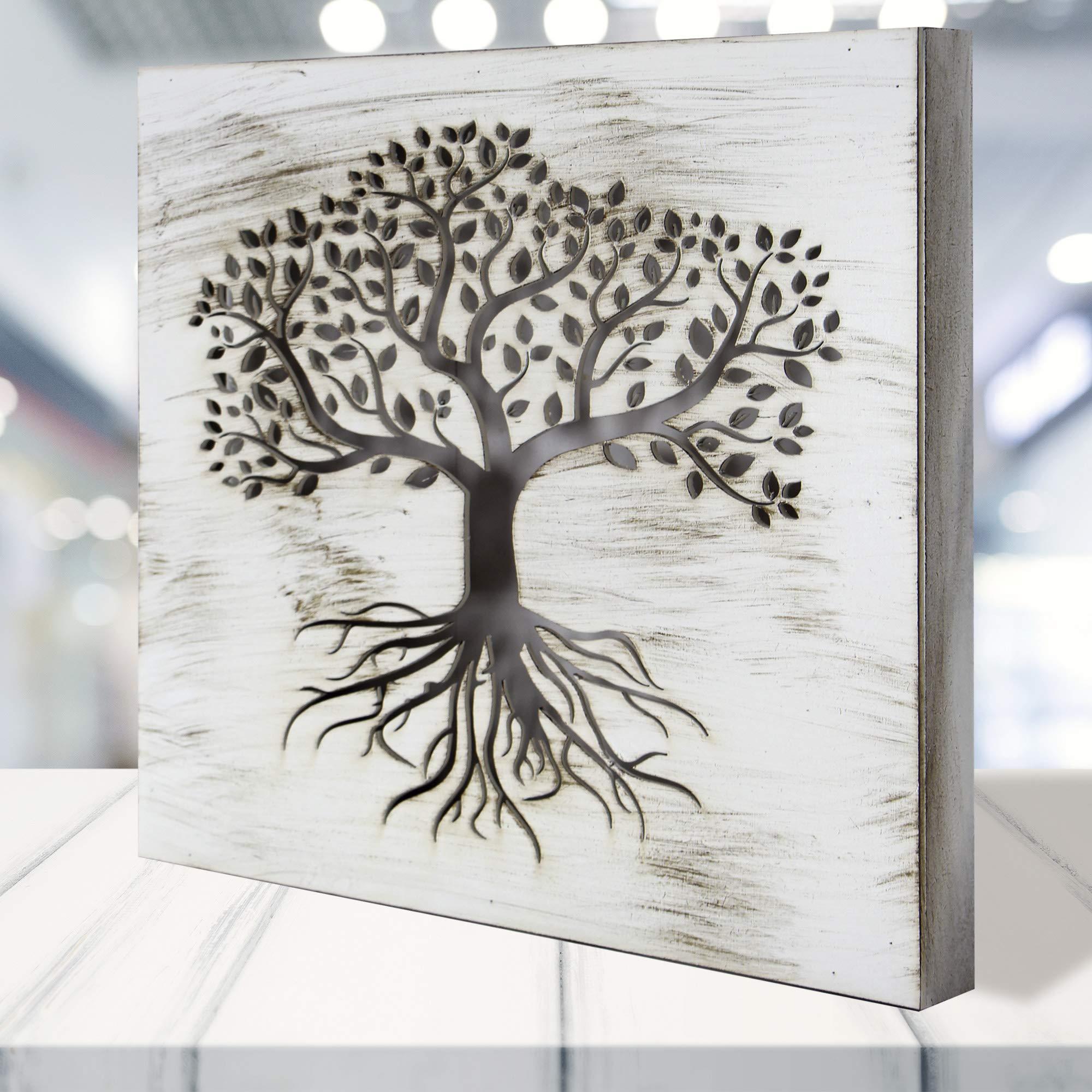 Cuadro Mandala de Pared - árbol de la Vida Calada, Fabricada artesanalmente en España- Mandala 3D Cuadrada Pintada a Mano- Modelo Mosaico 119 (Blanco Envejecido, 50x50cm): Amazon.es: Hogar