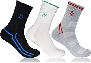 Men's Cushioned Multicoloured Sports Crew Socks- Pack of 3