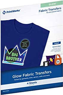 Printworks Glow Fabric Transfers, for All Colored Fabrics, 4 Sheets, Inkjet, 8.5 x 11, Add Fun Glow-in-The-Dark Effect to Garments, Costumes, Totes & More (00534)
