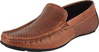 CHAMOIS Leather Brown Party Slip-On Ethnic Casual Men Loafers Shoes for Men