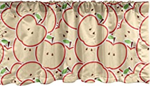 Ambesonne Apple Window Valance, Healthy Refreshing Fruit from Orchard Abstract Cartoon Drawing Organic, Curtain Valance for Kitchen Bedroom Decor with Rod Pocket, 54