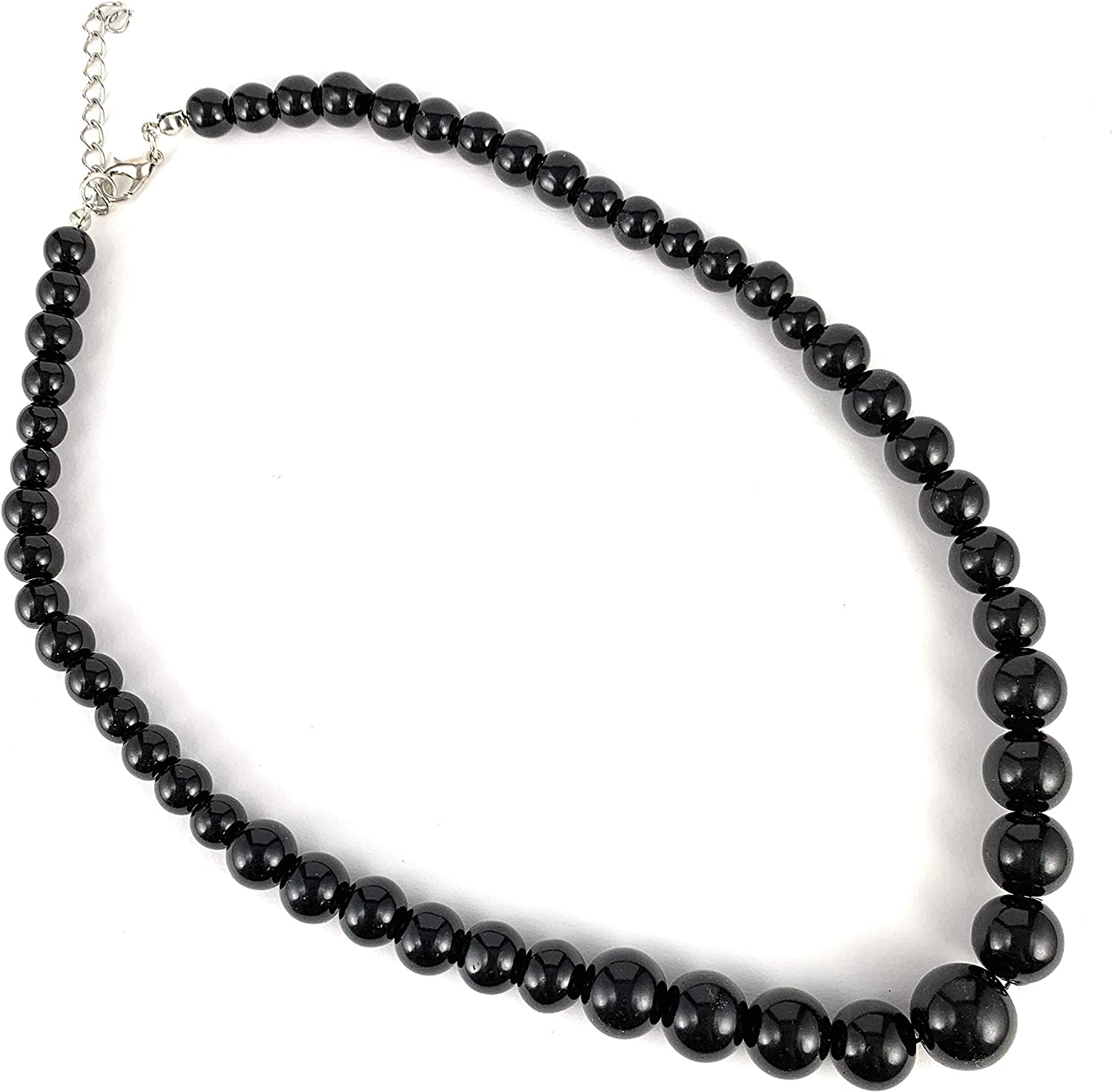 Black faux pearl necklace graduated round bead beaded necklace 18 inches long plus 2inch extender