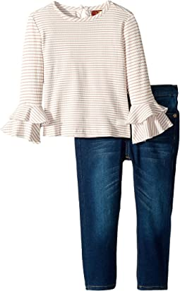 Two-Piece Set Rib Knit Fashion Top and Dark Wash Denim Jeans (Toddler)