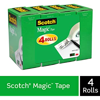 Scotch Magic Tape, 4 Rolls, Numerous Applications, Invisible, Engineered for Repairing, 3/4 x 1000 Inches, Boxed (810K4)