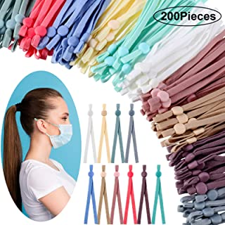 200 Pieces Adjustable Anti-Slip Earloop Buckle Straps Face Cover Sewing Elastic Band Cord with Adjustable Buckle for DIY C...