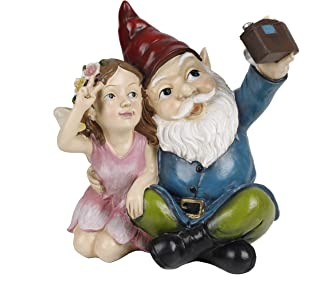 TERESA'S COLLECTIONS Funny Garden Gnome Statue, Solar Powered Cute Gnome Taking Photo with Garden Fairy, Outdoor Lawn Gnom...