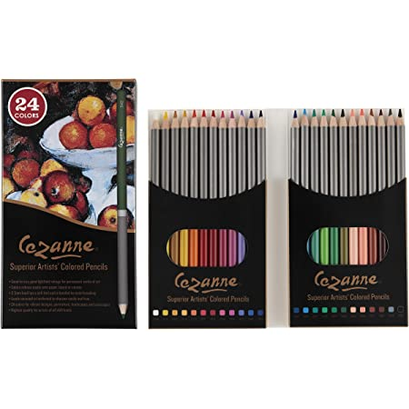 Cezanne Professional Colored Pencil Set of 24 Colors, Artist Quality Soft Core Blendable Lead for Drawing, Coloring, Sketching