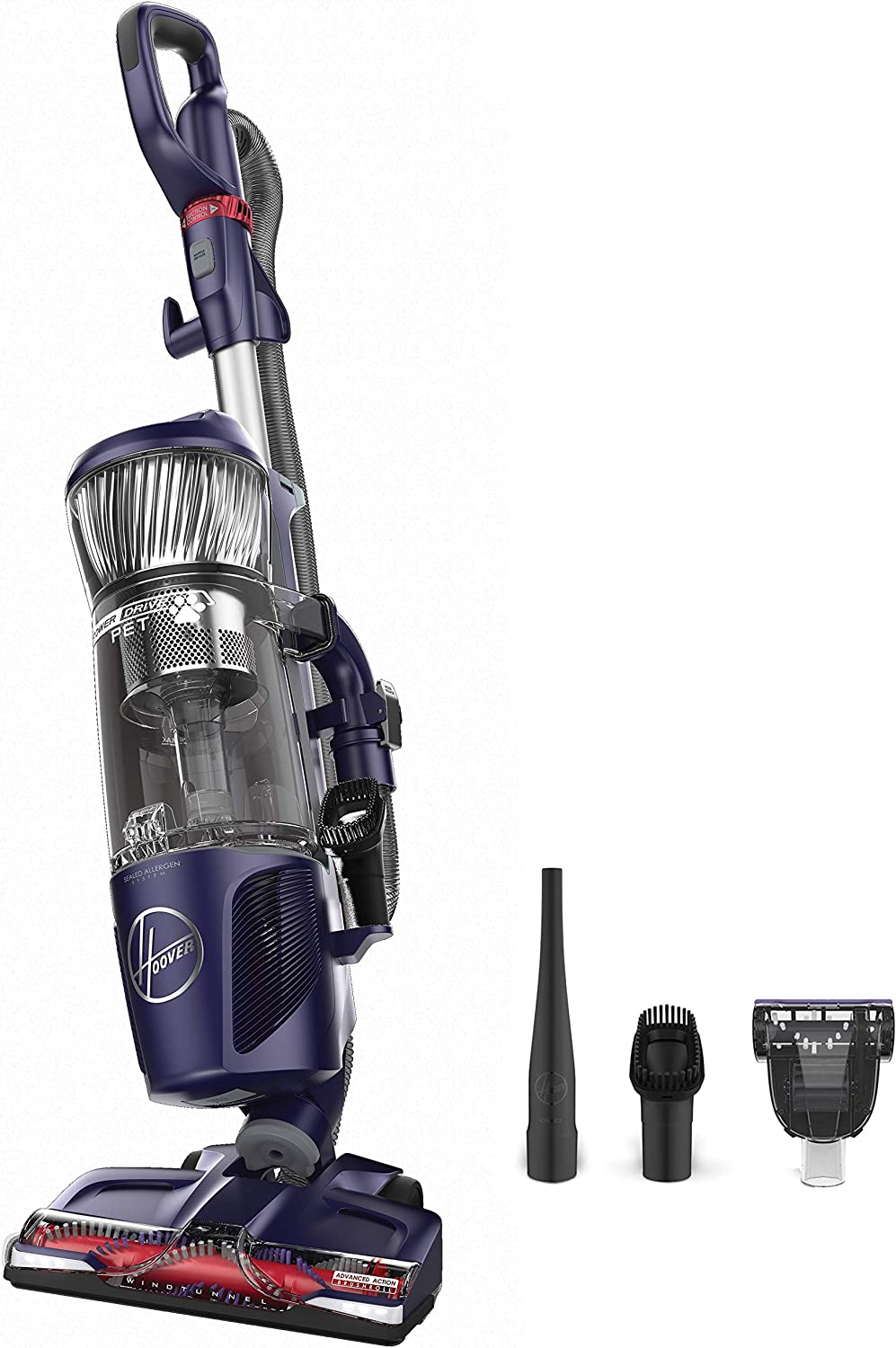 Hoover Power Drive Pet Bagless Multi Floor Upright Vacuum Cleaner with Swivel Steering, UH74210PC, Purple