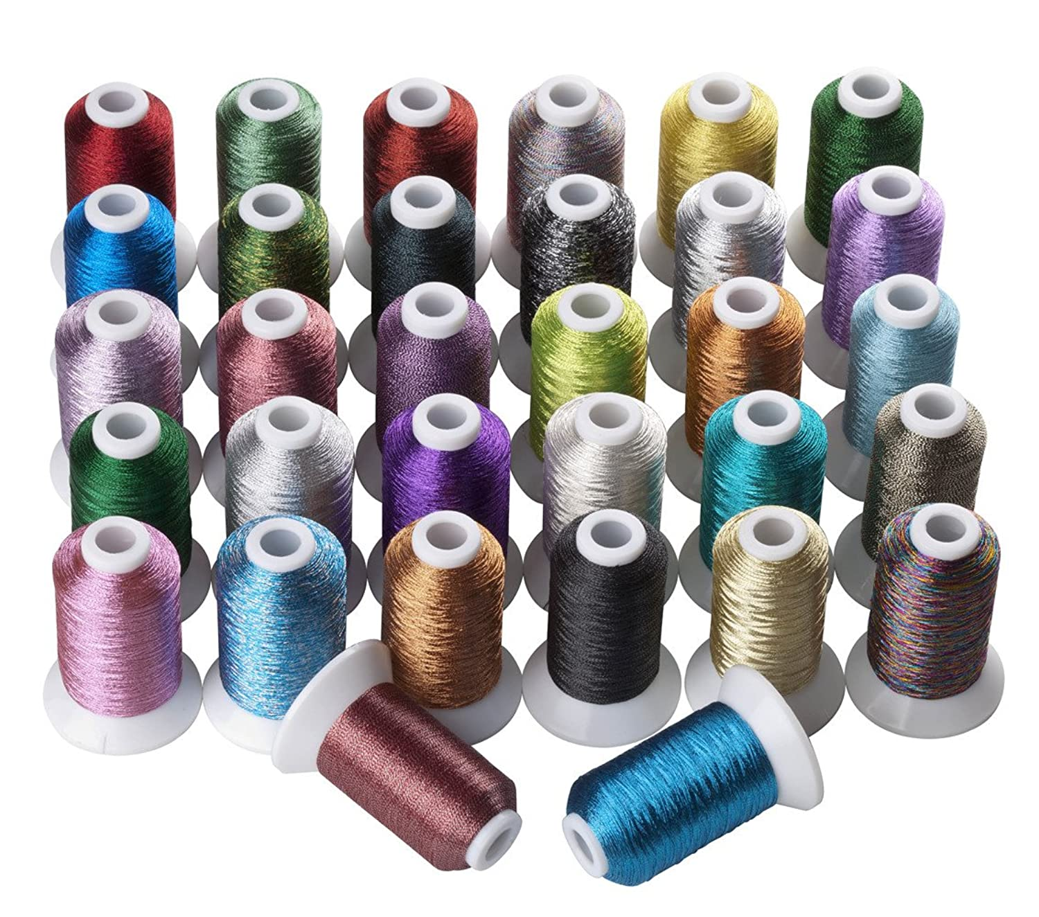 32 Colors Metallic Machine/Hand Embroidery Thread 500 Meters Each for Brother Janome Pfaff Babylock Singer Bernina Husqvaran and Most Home Embroidery Machines