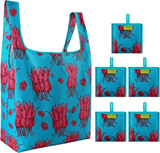Reusable-Grocery-Bags-Foldable 5 Pack W15*H15.7*D5.9 Chili
