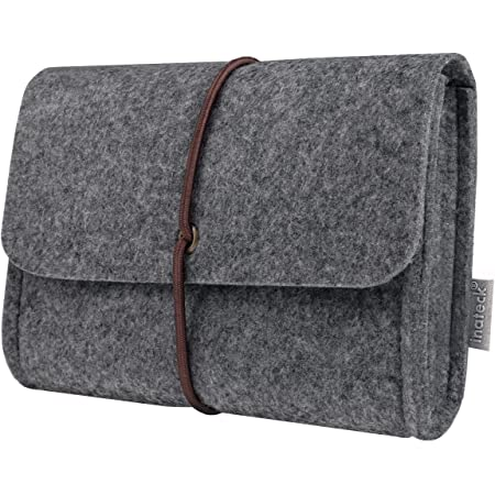 Inateck Felt Storage Pouch Bag Case for Accessory (Mouse, Cellphone, Cables, SSD, HDD Enclosure, Power Bank and More) - Dark Gray