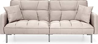Best Choice Products Living Room Convertible Linen Fabric Tufted Splitback Futon Couch Furniture w/Pillows - Beige
