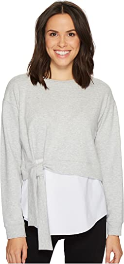 TWO by Vince Camuto - Long Sleeve Tie Waist Sweatshirt with Cotton Poplin Hem