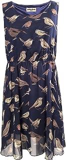 LaVieLente Sleeveless Midi Dress in Bird/Alpaca Print w/Front Pockets and Stretchable Waist Design