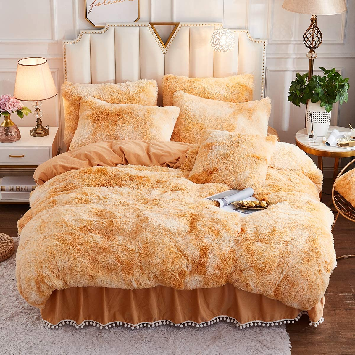 JAUXIO Luxury Abstract Faux Fur Bedding Set Tie Dye Printed Shaggy Duvet Cover with Pillow Shams Soft Crystal Velvet Reverse (ueen, Sandy Brown