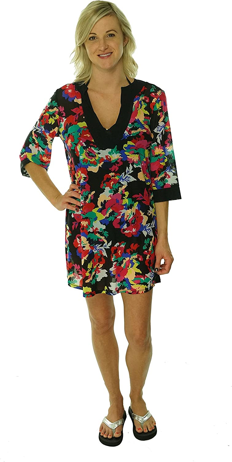 Anne Cole Floral Print Tunic Bathing Suit Cover Up (Small/Medium, Multi Color)