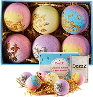 Jumbo Large Bath Bombs Gift Set with Organic Essential Oils & Natural Dry Flowers Inside Fizzies Spa Lush Bubble for Girlfriend Women Christmas New Year 4.2oz 6 Set