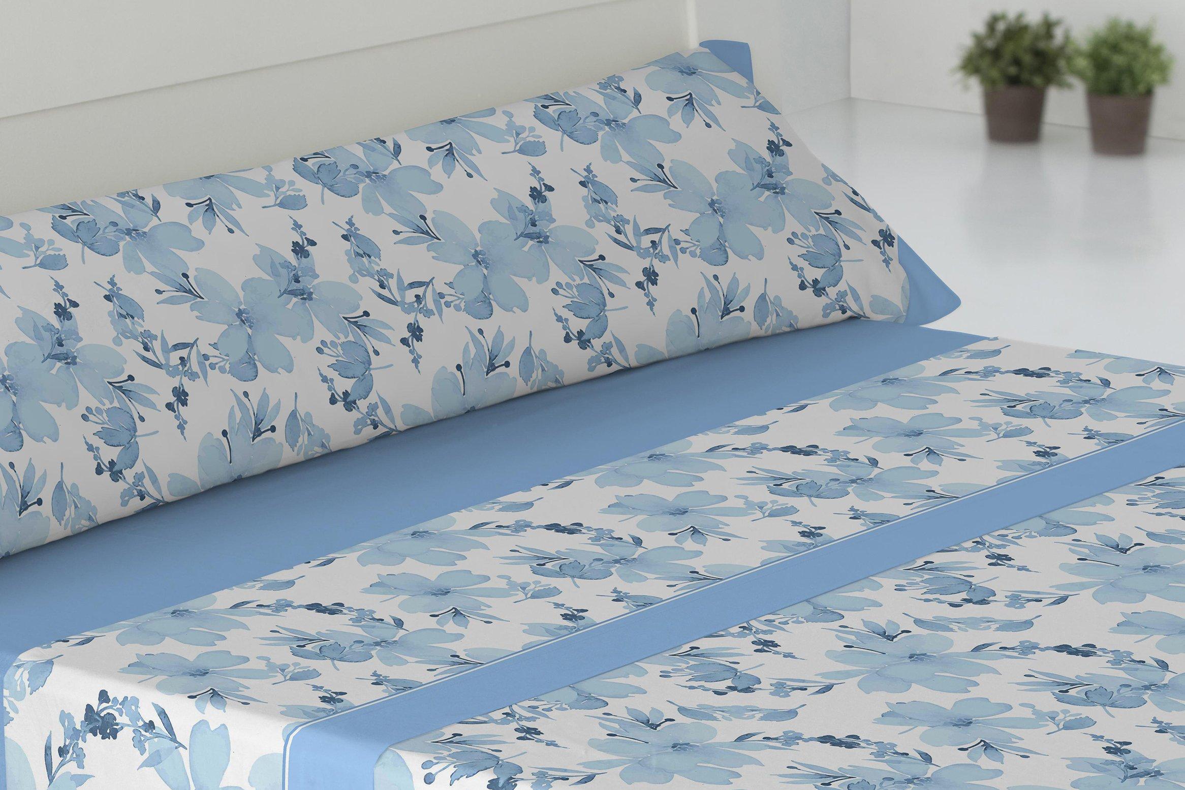 Todomueble Palma Juego de Sábanas cama de 105, 100% Algodón, Azul ...