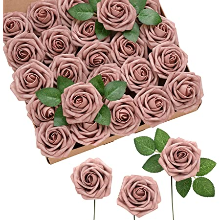Ling's moment 50pcs Dusty Rose Artificial Roses Flowers with Stem for DIY Wedding Bouquets Centerpieces Floral Arrangements Decorations