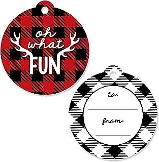 Big Dot of Happiness Prancing Plaid - Christmas and Holiday Buffalo Plaid to and from Favor Gift Tags (Set of 20)