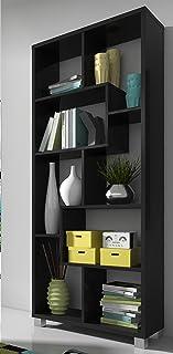 SelectionHome - Estantería librería de diseño Comedor salón Color Negro Mate Medidas: 685 x 161 x 25 cm de Fondo