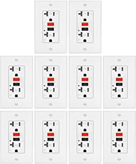 10 Pack - ELECTECK 20A WR GFCI Outlet, TR GFI Receptacle with LED Indicator, Weather and Tamper Resistant, Decorator Wall Plate Included, Residential and Commercial, ETL Certified, White