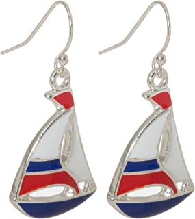 Nautical Sailboat Dangling Fish Hook Earrings