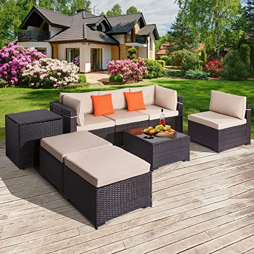 popular COSVALVE 8 PCS Patio Conversation Set, All-Weather Sectional Manual Weaving Rattan new arrival Wicker Sofa online sale Outdoor Furniture Set with Cushion,Glass Table&Storage Cabinet for Garden Backyard Poolside (Brown) outlet online sale