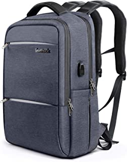 Inateck High-Grade Materials 15.6 Inch Anti-Theft Laptop Backpack Waterproof Rucksack Business School College Travel with USB Charging Port/Rain Cover for Men and Women, Gray Blue