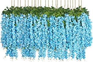 Pauwer 24 Pack (86.6 FT) Artificial Wisteria Vine Garland Fake Wisteria Flowers with Green Leaves Hanging Flowers Garland Wedding Arch Backdrop Decor (Blue)