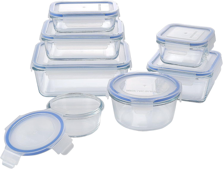 M2CBridge Glass Food Storage Set, 14 Piece