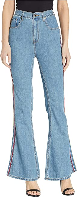 Denim Multicolor Embroidered Flare Jeans